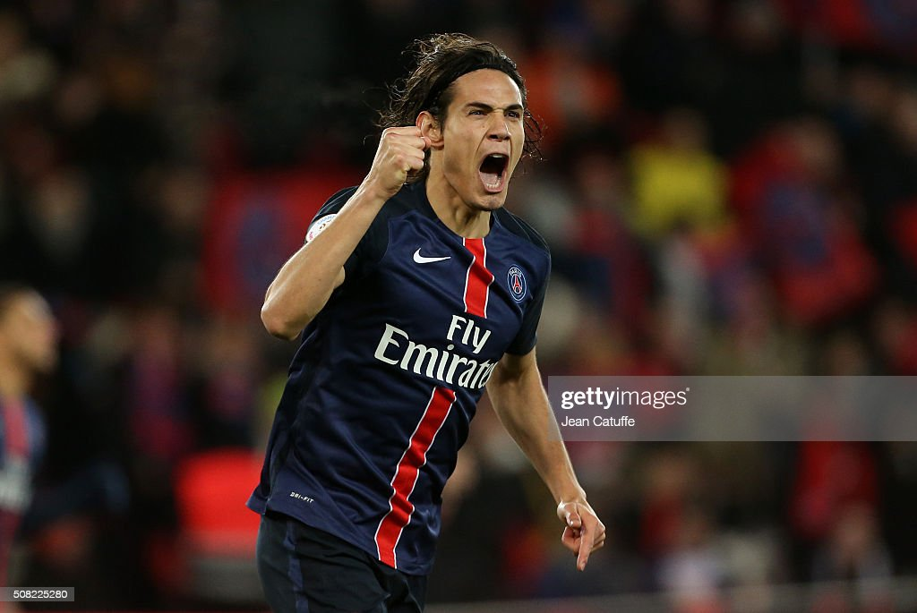 <a gi-track='captionPersonalityLinkClicked' href=/galleries/search?phrase=Edinson+Cavani&family=editorial&specificpeople=4104253 ng-click='$event.stopPropagation()'>Edinson Cavani</a> of PSG celebrates scoring a goal during the French Ligue 1 match between Paris Saint-Germain (PSG) and FC Lorient at Parc des Princes stadium on February 6, 2016 in Paris, France.