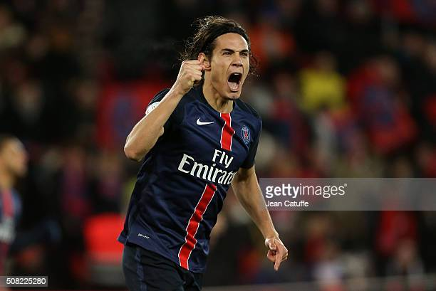 Edinson Cavani of PSG celebrates scoring a goal during the French Ligue 1 match between Paris SaintGermain and FC Lorient at Parc des Princes stadium...