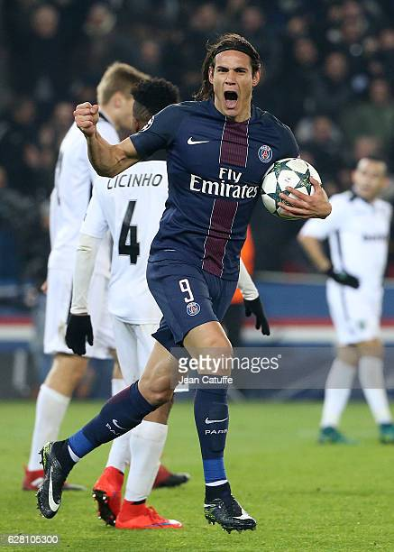 Edinson Cavani of PSG celebrates scoring a goal during the UEFA Champions League match between Paris SaintGermain and PFC Ludogorets Razgrad at Parc...
