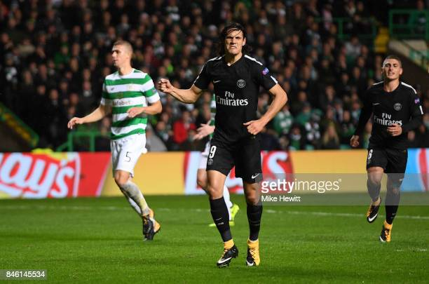 Edinson Cavani of PSG celebrates scoring his sides third goal during the UEFA Champions League Group B match between Celtic and Paris Saint Germain...