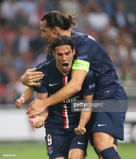 Edinson Cavani of PSG celebrates scoring the 1st goal for his team with Zlatan Ibrahimovic of PSG during the UEFA Champions League Group F match...
