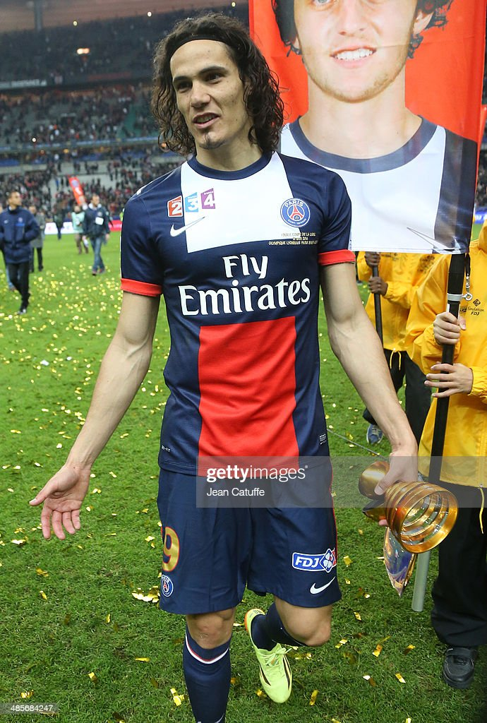 <a gi-track='captionPersonalityLinkClicked' href=/galleries/search?phrase=Edinson+Cavani&family=editorial&specificpeople=4104253 ng-click='$event.stopPropagation()'>Edinson Cavani</a> of PSG celebrates the victory at the end of the French League Cup Final (finale de la Coupe de la Ligue) between Olympique Lyonnais OL and Paris Saint-Germain FC at Stade de France on April 19, 2014 in Saint Denis near Paris, France.