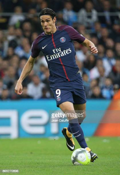 Edinson Cavani of PSG during the French Ligue 1 match between Olympique de Marseille and Paris Saint Germain at Stade Velodrome on October 22 2017 in...