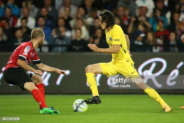 Edinson Cavani of PSG during the French Ligue 1 match between En Avant Guingamp and Paris Saint Germain at Stade de Roudourou on August 13 2017 in...