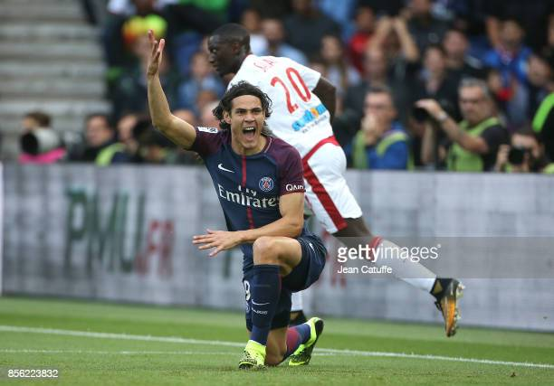 Edinson Cavani of PSG during the French Ligue 1 match between Paris SaintGermain and FC Girondins de Bordeaux at Parc des Princes on September 30...