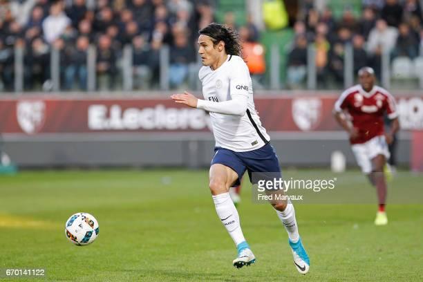 Edinson Cavani of PSG during the Ligue 1 match between Fc Metz and Paris SaintGermain at Stade SaintSymphorien on April 18 2017 in Metz France