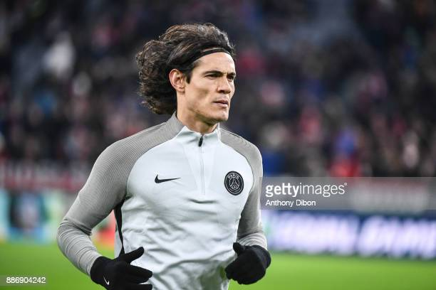 Edinson Cavani of PSG during the UEFA Champions League match between Bayern Munich and Paris Saint Germain at Allianz Arena on December 5 2017 in...