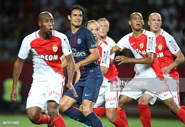 Edinson Cavani of PSG in action during the French Ligue 1 match between AS Monaco and Paris SaintGermain at Stade Louis II on August 28 2016 in...