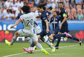 Edinson Cavani of PSG in action during the French Ligue 1 match between Paris Saint Germain FC and SC Bastia at Parc des Princes stadium on August 16...