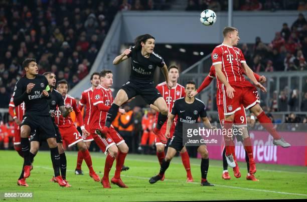 Edinson Cavani of PSG Joshua Kimmich of Bayern Munich during the UEFA Champions League group B match between Bayern Muenchen and Paris SaintGermain...