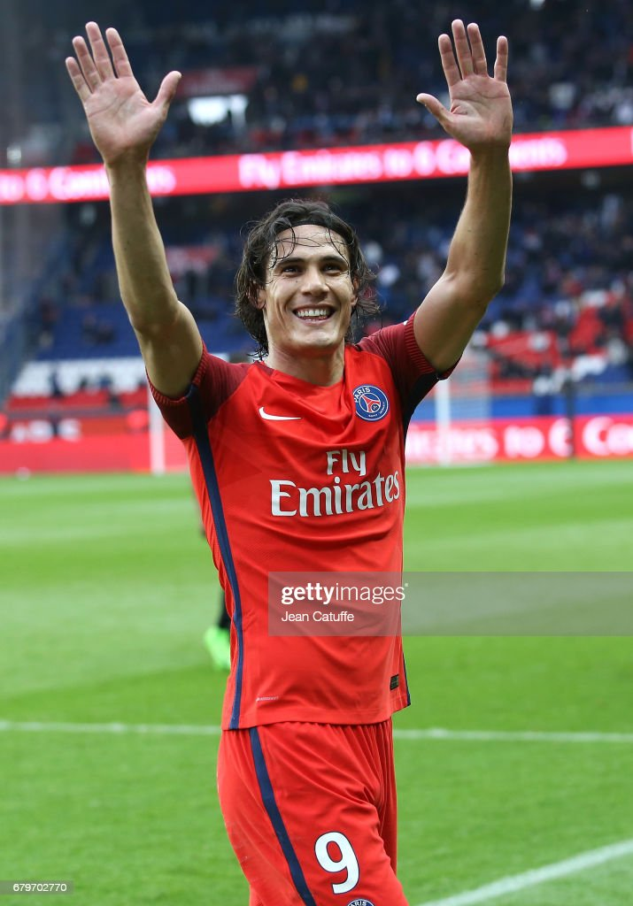 Edinson Cavani of PSG reacts during the French Ligue 1 match between Paris Saint-Germain (PSG) and SC Bastia at Parc des Princes stadium on May 6, 2017 in Paris, France.