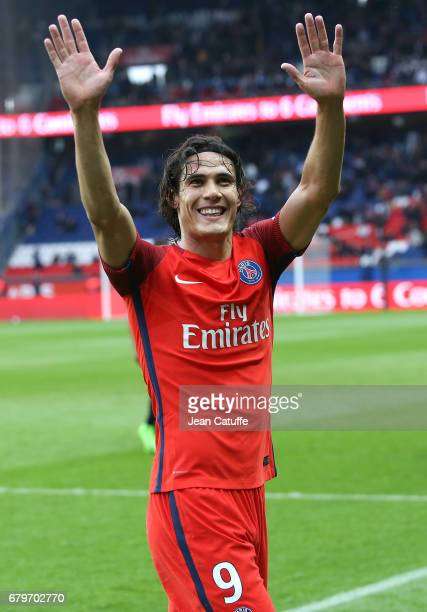Edinson Cavani of PSG reacts during the French Ligue 1 match between Paris SaintGermain and SC Bastia at Parc des Princes stadium on May 6 2017 in...