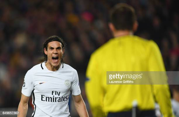 Edinson Cavani of PSG reacts towards the additional assistant referee during the UEFA Champions League Round of 16 second leg match between FC...