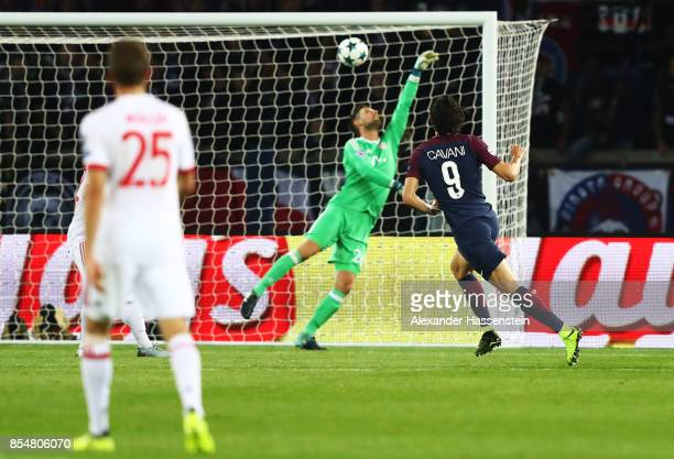 Edinson Cavani of PSG scores his sides second goal during the UEFA Champions League group B match between Paris SaintGermain and Bayern Muenchen at...