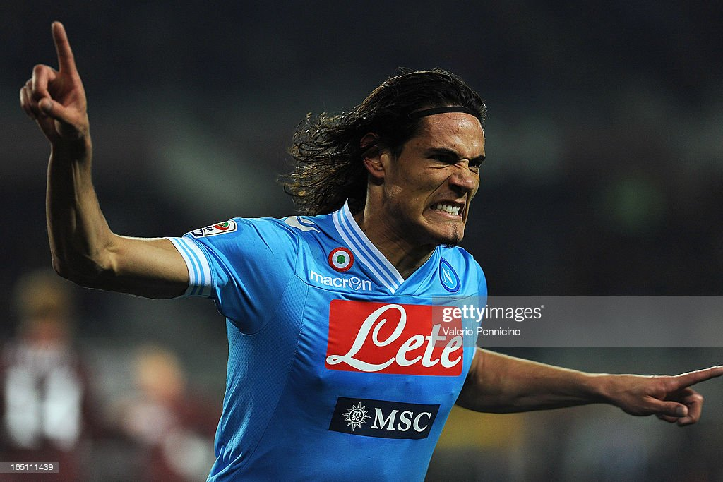 <a gi-track='captionPersonalityLinkClicked' href=/galleries/search?phrase=Edinson+Cavani&family=editorial&specificpeople=4104253 ng-click='$event.stopPropagation()'>Edinson Cavani</a> of SSC Napoli celebrates after scoring his second goal during the Serie A match between Torino FC and SSC Napoli at Stadio Olimpico di Torino on March 30, 2013 in Turin, Italy.