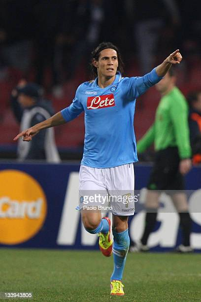 Edinson Cavani of SSC Napoli celebrates after scoring the second goal during the UEFA Champions League Group A match between SSC Napoli and...