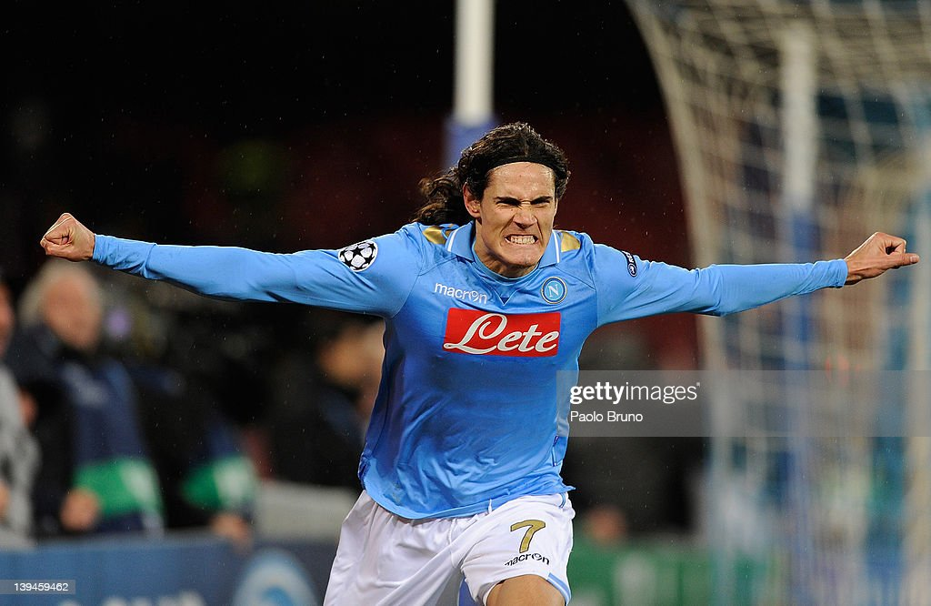 Edinson Cavani of SSC Napoli celebrates after scoring the second goal during the UEFA Champions League round of 16 first leg match between SSC Napoli and Chelsea FC at Stadio San Paolo on February 21, 2012 in Naples, Italy.