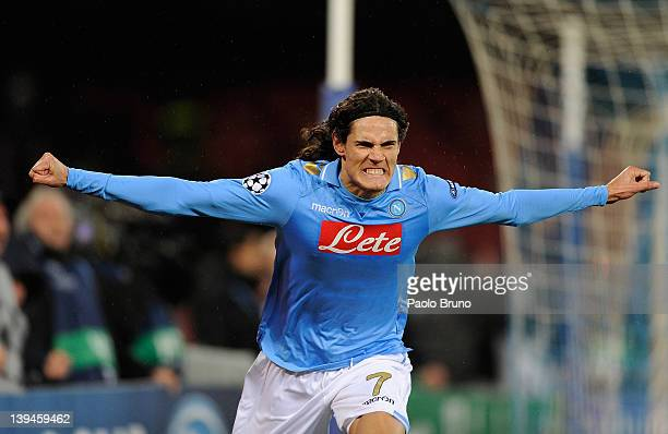 Edinson Cavani of SSC Napoli celebrates after scoring the second goal during the UEFA Champions League round of 16 first leg match between SSC Napoli...