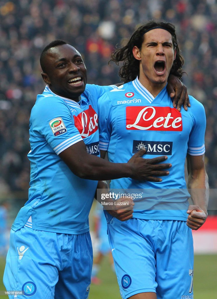 Edinson Cavani of SSC Napoli celebrates with his teammate Pablo Estifer Armero after scoring during the Serie A match between Parma FC and SSC Napoli...