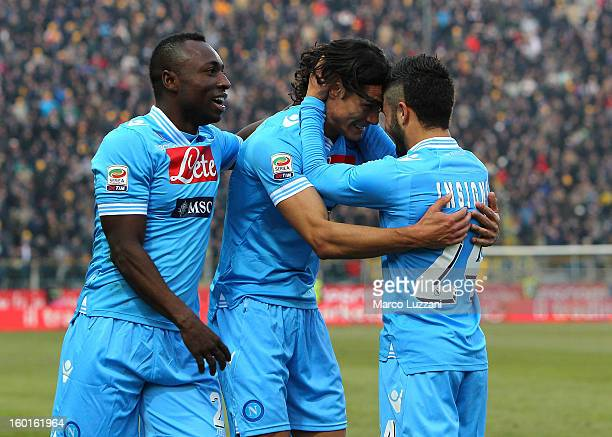 Edinson Cavani of SSC Napoli celebrates with his teammates Pablo Estifer Armero and Lorenzo Insigne after scoring during the Serie A match between...