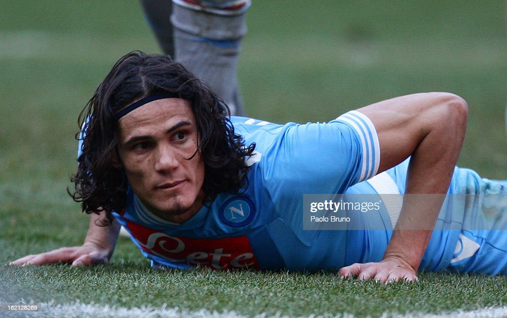 <a gi-track='captionPersonalityLinkClicked' href=/galleries/search?phrase=Edinson+Cavani&family=editorial&specificpeople=4104253 ng-click='$event.stopPropagation()'>Edinson Cavani</a> of SSC Napoli looks on during the Serie A match between SSC Napoli and UC Sampdoria at Stadio San Paolo on February 17, 2013 in Naples, Italy.