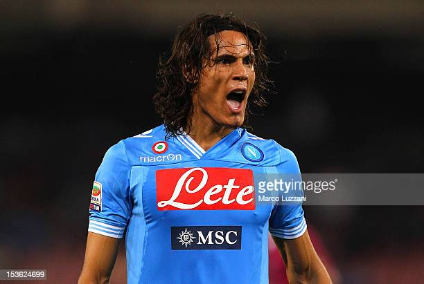 Edinson Cavani of SSC Napoli shouts during the Serie A match between SSC Napoli v Udinese Calcio at Stadio San Paolo on October 7 2012 in Naples Italy