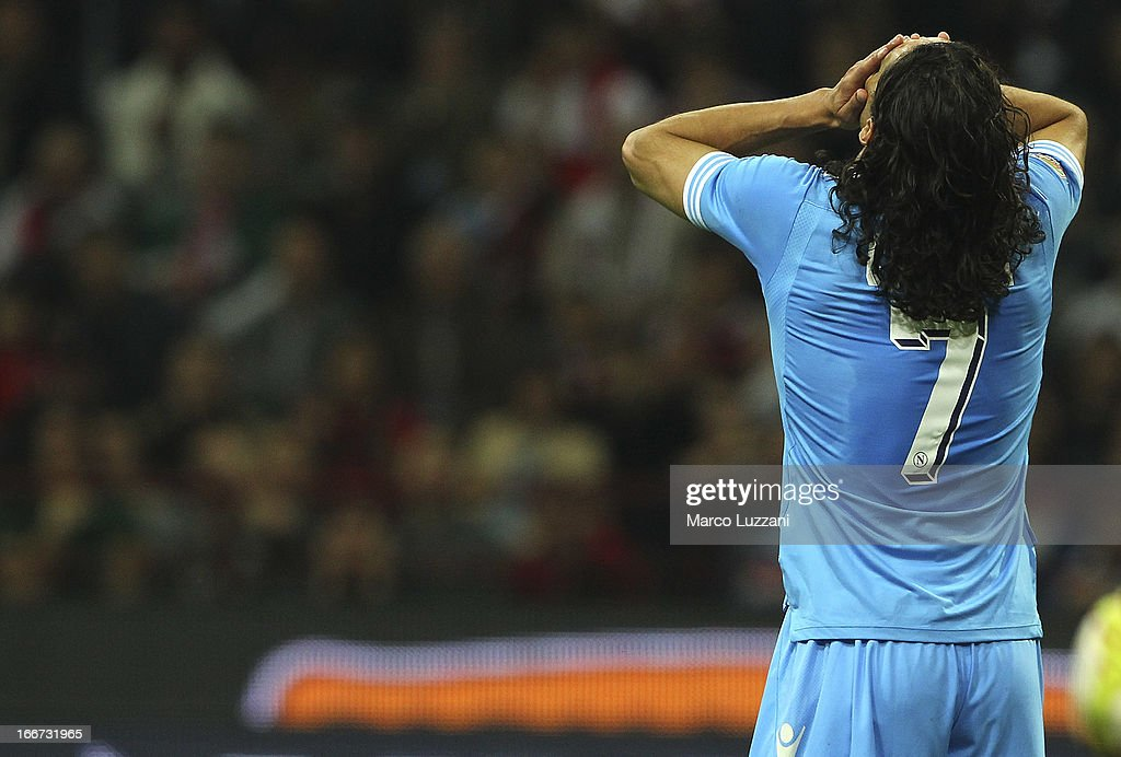 Edinson Cavani of SSC Napoli shows his dejection during the Serie A match between AC Milan and SSC Napoli at San Siro Stadium on April 14, 2013 in Milan, Italy.