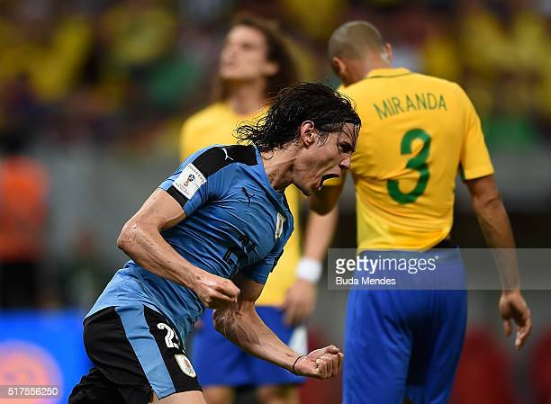 Edinson Cavani of Uruguay celebrates after scoring a goal during a match between Brazil and Uruguay as part of 2018 FIFA World Cup Russia Qualifiers...