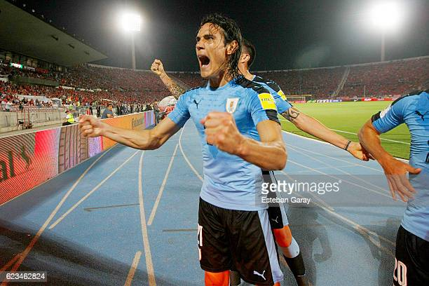 Edinson Cavani of Uruguay celebrates after scoring the first goal of his team during a match between Chile and Uruguay as a part of FIFA 2018 World...