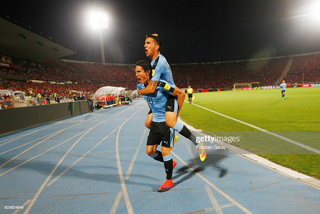 Edinson Cavani of Uruguay celebrates after scoring the first goal of his team during a match between Chile and Uruguay as a part of FIFA 2018 World Cup Qualifier at Nacional Julio Martinez Pradanos Stadium on November 15, 2016, in Santiago, Chile.