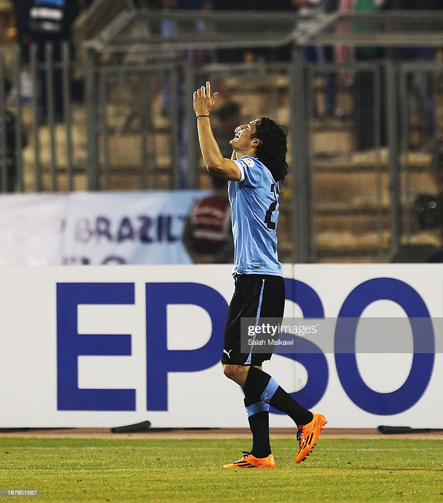 <a gi-track='captionPersonalityLinkClicked' href=/galleries/search?phrase=Edinson+Cavani&family=editorial&specificpeople=4104253 ng-click='$event.stopPropagation()'>Edinson Cavani</a> of Uruguay celebrates his goal during the FIFA 2014 World Cup Qualifier: Intercontinental Play-off First Leg between Jordan and Uruguay on November 13, 2013 in Amman, Jordan.