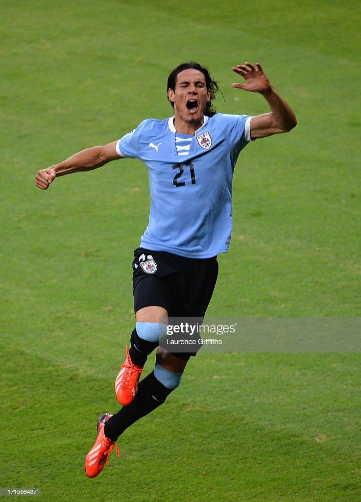 Edinson Cavani of Uruguay celebrates scoring his team's first goal to make the score 1-1 during the FIFA Confederations Cup Brazil 2013 Semi Final match between Brazil and Uruguay at Governador Magalhaes Pinto Estadio Mineirao on June 26, 2013 in Belo Horizonte, Brazil.