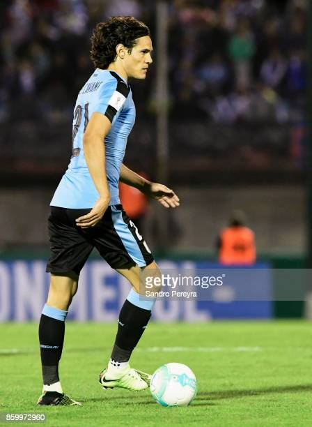 Edinson Cavani of Uruguay drives the ball during a match between Uruguay and Bolivia as part of FIFA 2018 World Cup Qualifiers at Centenario Stadium...