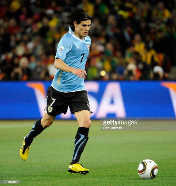 Edinson Cavani of Uruguay in action during the 2010 FIFA World Cup South Africa Quarter Final match between Uruguay and Ghana at the Soccer City...