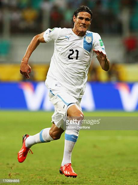 Edinson Cavani of Uruguay in action during the FIFA Confederations Cup Brazil 2013 Group B match between Nigeria and Uruguay at Estadio Octavio...