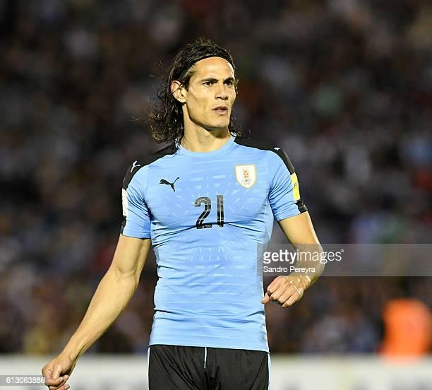 Edinson Cavani of Uruguay looks on during a match between Uruguay and Venezuela as part of FIFA 2018 World Cup Qualifiers at Centenario Stadium on...