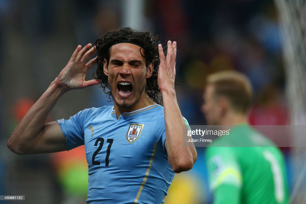 <a gi-track='captionPersonalityLinkClicked' href=/galleries/search?phrase=Edinson+Cavani&family=editorial&specificpeople=4104253 ng-click='$event.stopPropagation()'>Edinson Cavani</a> of Uruguay reacts after a missed chance during the 2014 FIFA World Cup Brazil Group D match between Uruguay and England at Arena de Sao Paulo on June 19, 2014 in Sao Paulo, Brazil.