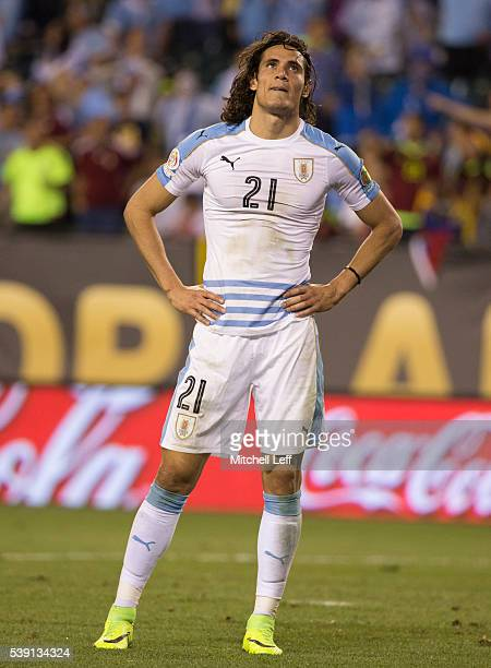 Edinson Cavani of Uruguay reacts after his shot went wide against Venezuela during the 2016 Copa America Centenario Group C match at Lincoln...