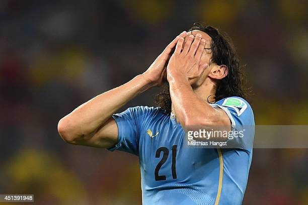 Edinson Cavani of Uruguay reacts during the 2014 FIFA World Cup Brazil round of 16 match between Colombia and Uruguay at Maracana on June 28 2014 in...