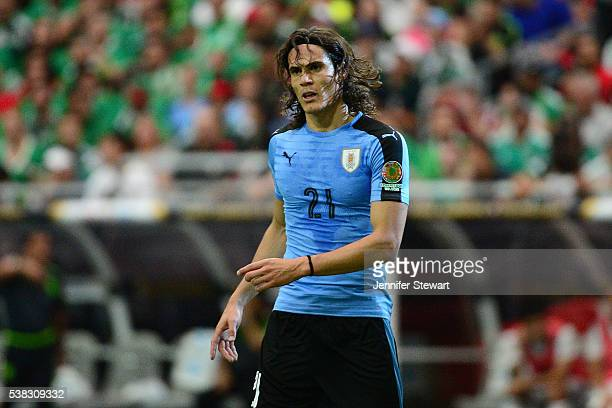 Edinson Cavani of Uruguay reacts during the 2016 Copa America Centenario Group C match against Mexico at University of Phoenix Stadium on June 5 2016...