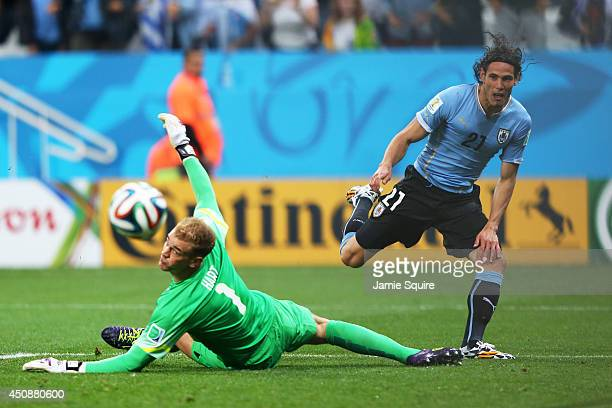 Edinson Cavani of Uruguay shoots wide against Joe Hart of England during the 2014 FIFA World Cup Brazil Group D match between Uruguay and England at...