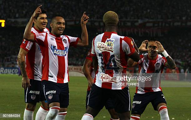 Edinson Toloza of Juniorcelebrates after scoring against Nacional during their Colombian Football League first leg final match on December 16 at the...