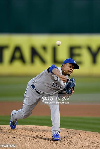 Edinson Volquez of the Kansas City Royals pitches against the Oakland Athletics in the bottom of the first inning at Oco Coliseum on April 15 2016 in...