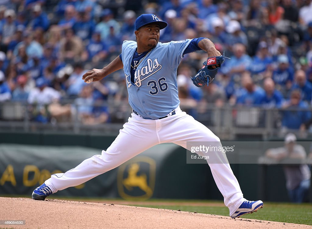 Edinson Volquez #36 of the Kansas City Royals throws in the first inning against the Chicago White Sox on April 9, 2015 at Kauffman Stadium in Kansas City, Missouri.