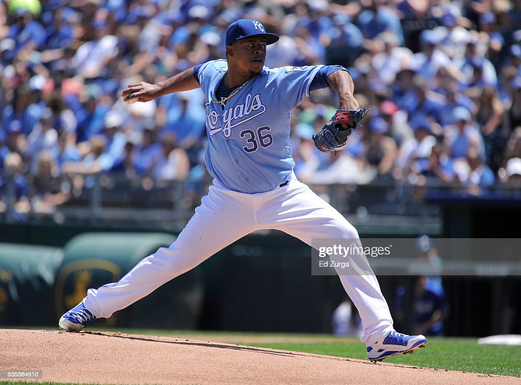 Edinson Volquez #36 of the Kansas City Royals throws in the first inning against the Chicago White Sox at Kauffman Stadium on May 29, 2016 in Kansas City, Missouri.