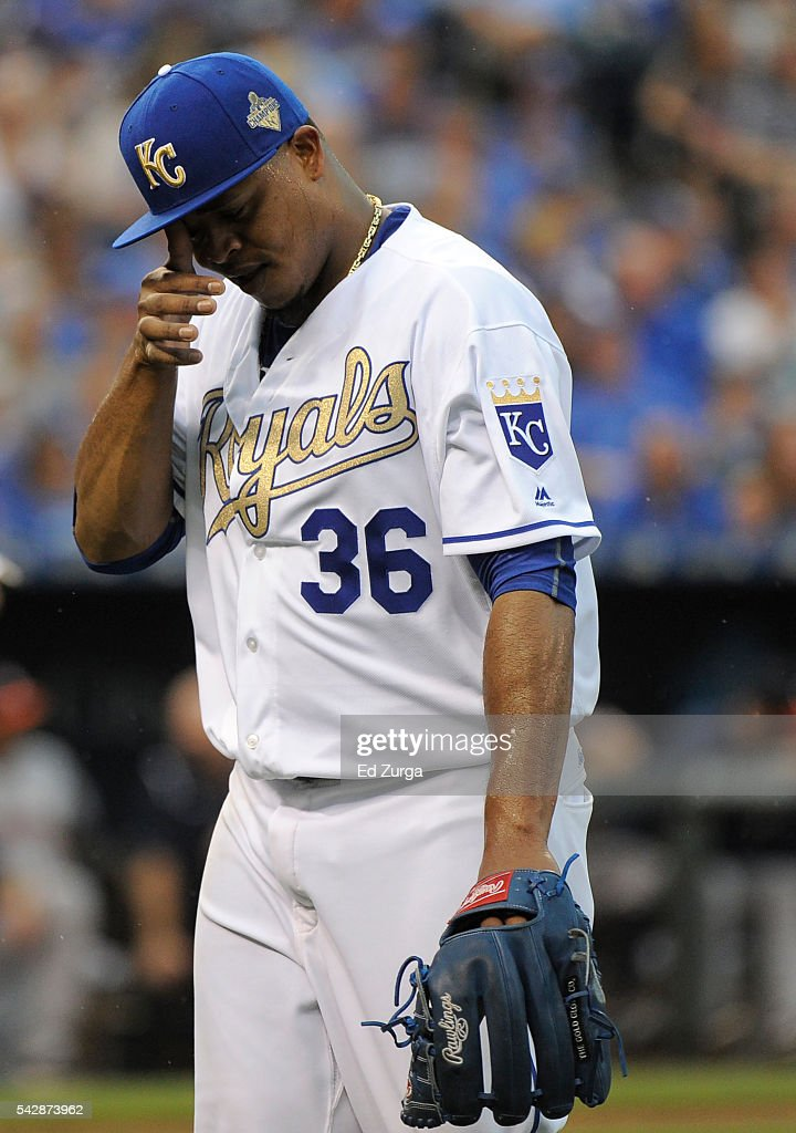 Edinson Volquez #36 of the Kansas City Royals walks to the dugout after being taken out of a game against the Houston Astros in the second inning at Kauffman Stadium on June 24, 2016 in Kansas City, Missouri.