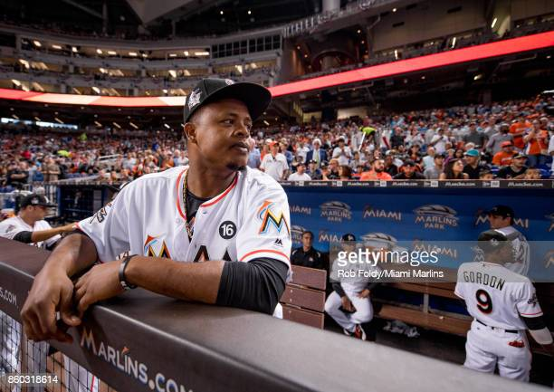 Edinson Volquez of the Miami Marlins looks on before the Opening Day game against the Atlanta Braves at Marlins Park on April 11 2017 in Miami Florida