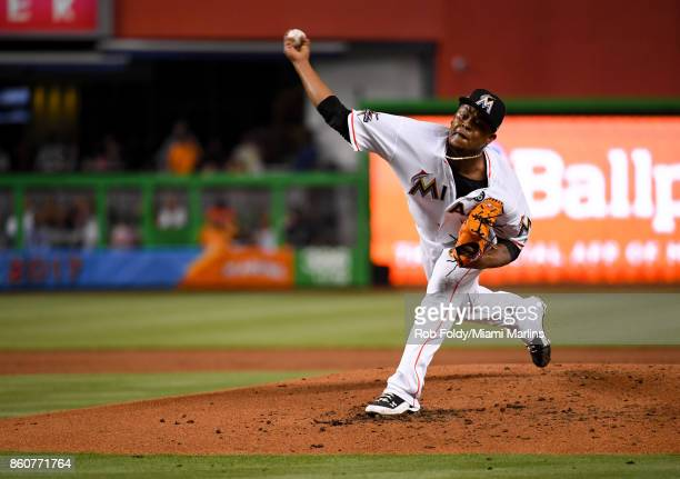 Edinson Volquez of the Miami Marlins pitches during the game against the New York Mets at Marlins Park on April 14 2017 in Miami Florida