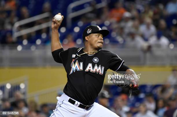 Edinson Volquez of the Miami Marlins throws a pitch during the first inning against the Arizona Diamondbacks at Marlins Park on June 3 2017 in Miami...