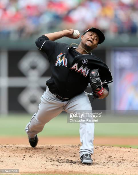 Edinson Volquez of the Miami Marlins throws a pitch in the bottom the second inning against the Philadelphia Phillies on April 27 2017 at Citizens...